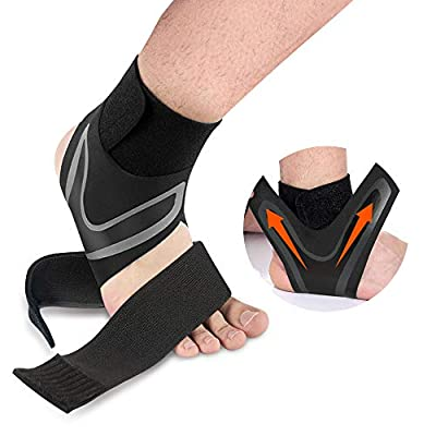 Ankle Support Brace, Adjustable Ankle Compression SHONGYI Support Wrap with Breathable & Elastic Nylon Material, Protects Against Chronic Ankle Strain, Sprains Fatigue Fits All(1 Pair) (Medium)