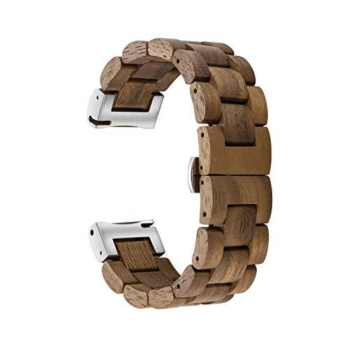 木製腕時計バンド 20mm Samsung Galaxy Watch Active/Active 2用 40/42/44mm 木製ステンレススチール腕時計バンド クイックリリースストラップ 交換用ブレスレット リストバンド (ウォールナット+シルバー)