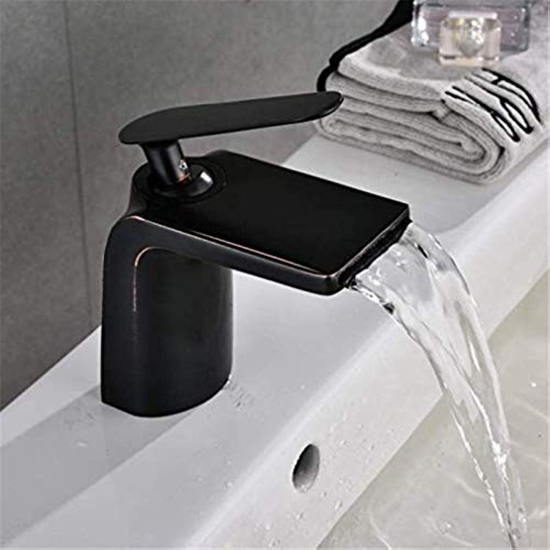 Stunning Mono Faucet Waterfall Bathroom Sink Faucet, Black Matte, Deck Mount