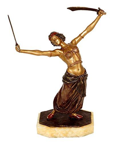 Kunst & Ambiente - Wiener Bronze - Erotische Schwert Tänzerin/Orientale - Erotik Figur - Frauen Akt - Bronzefigur - Orientalische Bauchtänzerin - Handbemalt