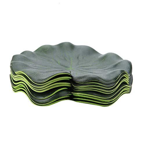 Garosa 10 Stücke Künstliche Floating Lotus Blätter Grün Lebensechte Gefälschte Blätter Simulation Aquarium Dekoration Künstliche Laub Teich Decor
