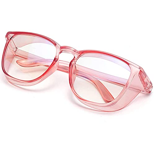 Safety Glasses Anti Fog for Women and Men,UV Protection Anti Scratch Protective Eyewear Safety Goggles over Glasses (Square Transparent pink)