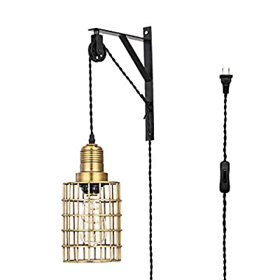 Pauwer Industrial Metal Cage Wall Lamp Pulley Light Fixture Farmhouse Adjustable Hanging Pendant Lamp with Plug in Cord and On Off Switch Wall Sconce Light
