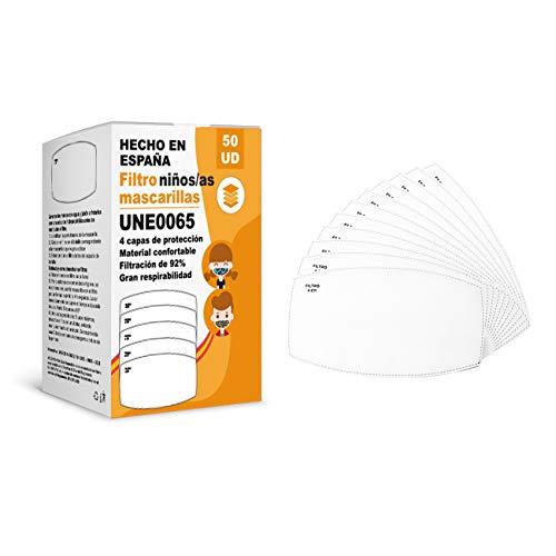[ENVÍOS EN 24H] KALLPA® 50 filtros para mascarillas niños UNE0065 - REUTILIZABLES - fabricados en ESPAÑA - hidrófobo, antiestático y antibacteriano, muy transpirable, (TNT) (tnt)