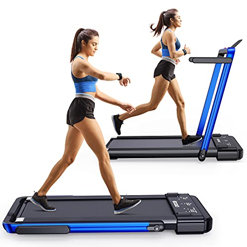 Googo 2 in 1 Folding Treadmill,2.25HP Electric Under Desk Treadmills Walking Machine with Widened Shock Absorption Running Belt,LED Display & Remote Control & Phone Holder,Non-Assembly & Space Saving