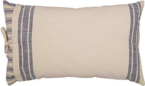 Piper Classics Market Place Blue Ticking Stripe and Grain Sack Pillow Cover, 16' x 26', Farmhouse Throw Pillow, Blue and Natural Cream