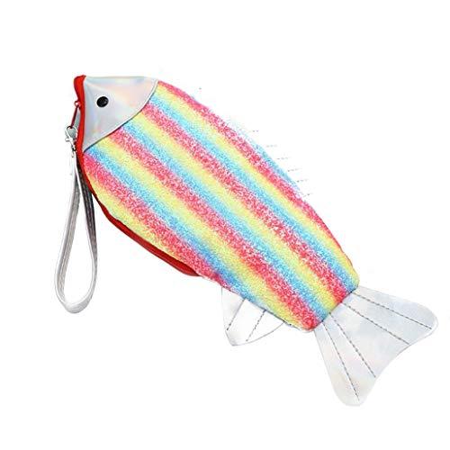 Giftik Cartera de estilo de pez degradado arcoíris para mujer, bolso de embrague con cremallera multifunción, bolso portátil de PU de moda para mujer, monedero, tarjeta de billete de fotos
