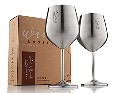 Stemmed Stainless Steel Wine Glasses – 18 oz Unbreakable Goblets for Outdoor Pool Party, Anniversary and Wedding Toasting – Elegant Silver Tone Drinkware for Champagne and Cocktails (2 Pack)