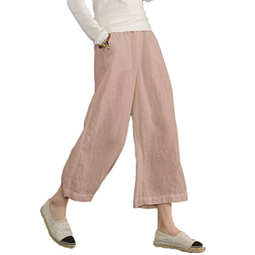 Ecupper Womens Casual Loose Elastic Waist Cotton Trouser Cropped Wide Leg Pants Pink M