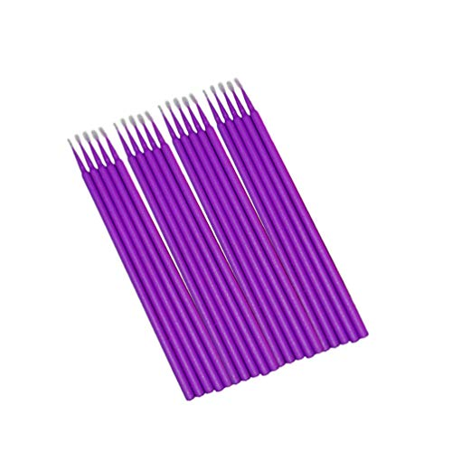 Minkissy 100 Pcs Coton-Tiges Plastique Bâton de Coton Coton Embout Applicateur pour Maquillage Des Cils Micro Brosses Jetables Taille M (Violet Foncé)