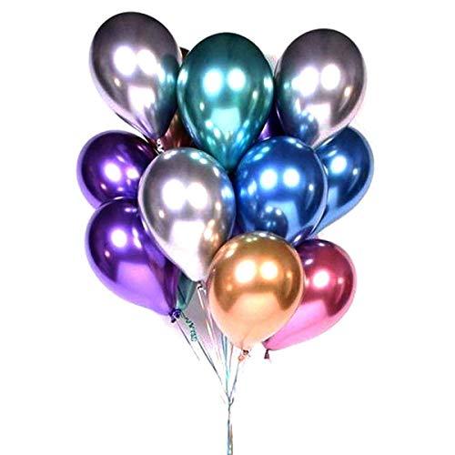 CNNIK Metallic Luftballons, 50 Stück Mehrfarbig aufblasbare Latex Luftballons, glänzende Helium Luftballons für Geburtstagsfeier & Hochzeitsdekoration (12 Zoll)