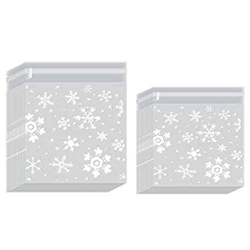 200PZ Bolsas de Celofán Transparente Plastico OPP Copos de Nieve, Navidad Bolsas...