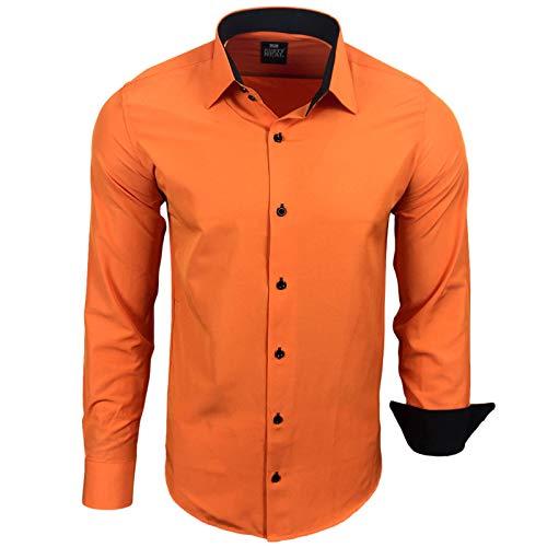 Rusty Neal Herren Hemd Stretch Business Kontrast Hemden Bügelleicht Slim 31 Farben S - 4XL, Farbe:Orange, Größe:M