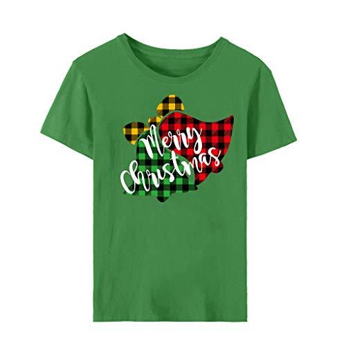 Vectry Damen Casual Tops Kurzarm Shirts Mode Weihnachtsbaum Druck Bluse Weihnachten Pullover Rundhals Niedlich Tunika Party Täglich Lose Sweater Grün XL
