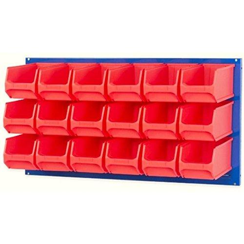 Systemplatte blau 100x50cm & 18 Sichtlagerbox Sichtlagerkasten Sichtlagerkiste Lagersichtbox Lagersichtkasten Lagersichtkiste 235 x 145 x 125mm rot