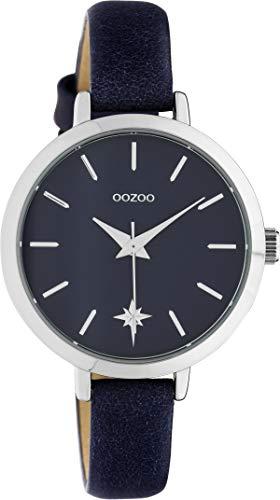 Oozoo Damenuhr Star mit Lederband 30 MM Blau C10388