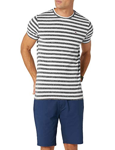 Tommy Hilfiger Essential Stripe Camiseta, Negro (Tommy Black 078), Small para Hombre