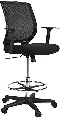 NATRKE Mesh Drafting Stool Chair, Ergonomic Painting Chair with Adjustable Height Footrest, Tall Standing Desk Chair with Armrest Swivel Chair Fabric High Counter Chair for Reception, Max 120kg Black