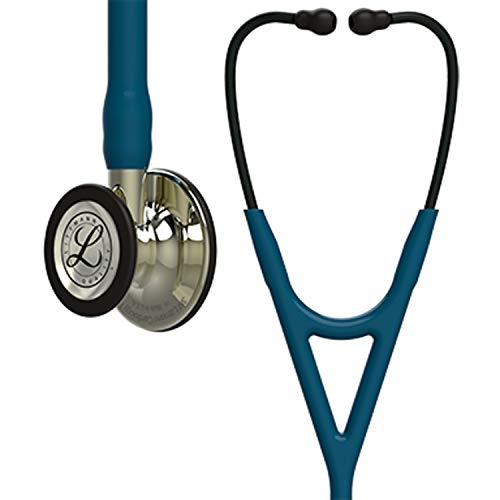 3M Littmann Cardiology IV Fonendoscopio diagnóstico, campana y vástago de acabado en color Champán, tubo Azul Caribe y auricular color Humo, 69cm, 6190