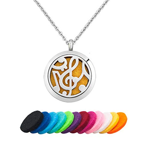 Jesse Ortega Musical Notes Essential Oil Diffuser Necklace Women Men Aromatherapy Stainless Steel Locket (Note 2)
