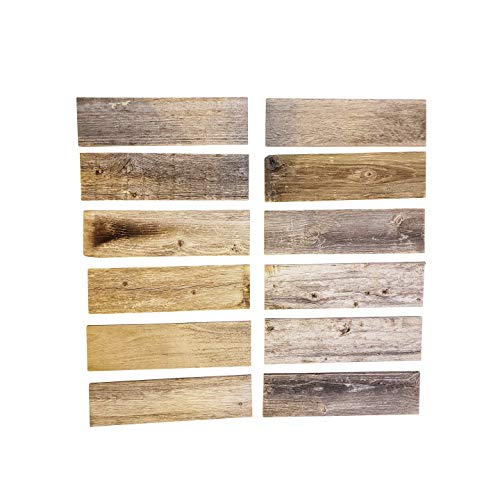 Rustic Weathered Reclaimed Wood Planks for DIY Crafts, Projects and Decor (12 Planks - 12' Long)