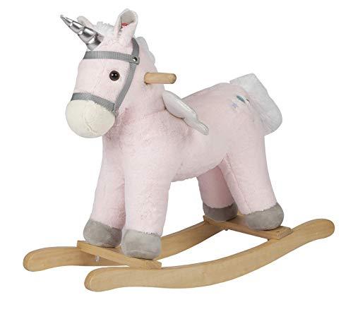 ROCK MY BABY Kinder Schaukelpferd Holz, Plüsch Schaukeltier Einhorn Rosa, Schaukel Spielzeug für Babys und Kleinkinder für Kinder ab 18 Monaten