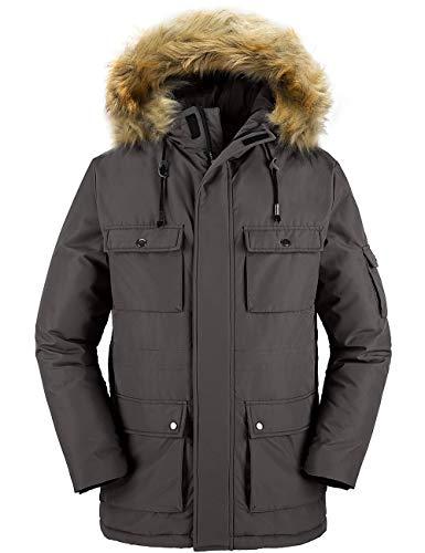 Wantdo Men's Winter Thicken Cotton Parka Jacket with Fur Hood Dark Grey L