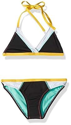 Hobie Girls' Big Triangle Halter Bikini Top and Hipster Bottom Swimsuit Set, Black//Stitch Perfect, 12
