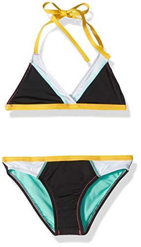 Hobie Girls' Big Triangle Halter Bikini Top and Hipster Bottom Swimsuit Set, Black//Stitch Perfect, 7
