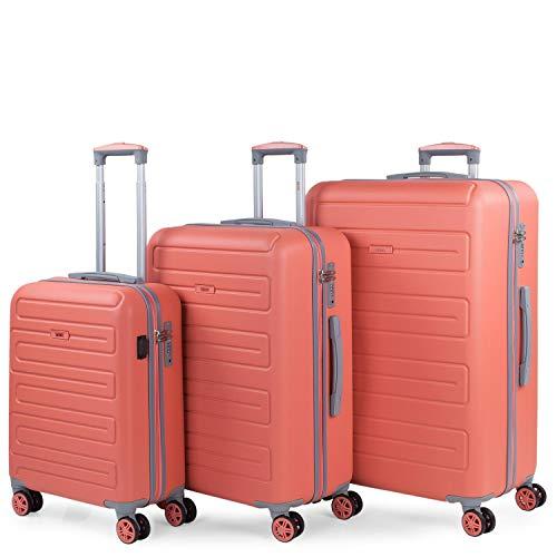 SKPAT - Juego de Maletas de Viaje Ligeras 3 Pzs. Set Trolley ABS 4 Ruedas (Cabina + Mediana + Grande) Rígidas y Resistentes. Conjunto Equipaje Avión. 175000, Color Coral