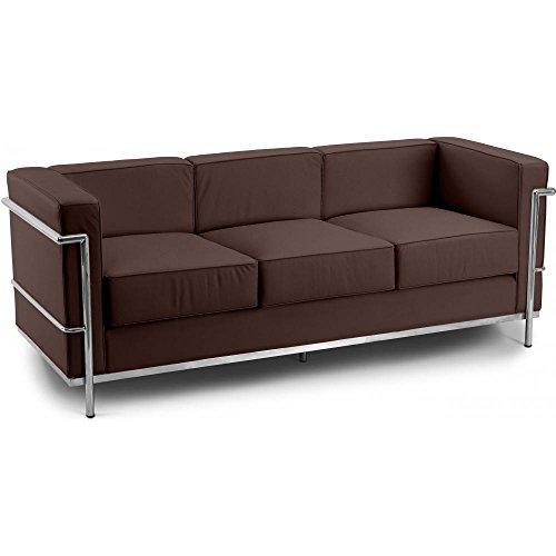 Sofá de diseño LC2 - Charles Le Corbusier - 3 asientos - Piel Premium Chocolate