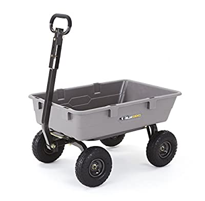 """Gorilla Carts Poly Garden Dump Cart with Steel Frame and 10"""" Pneumatic Tires,800-lbs. Capacity, Gray"""