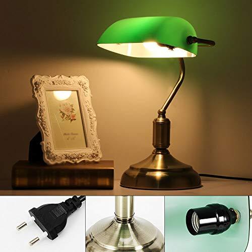 Lámpara de mesa retro, verde clásica, lámpara de escritorio, E27, lámpara de escritorio, lámpara de biblioteca, aspecto de latón y adornos curvados, lámpara de mesa vintage industrial para Bedroom