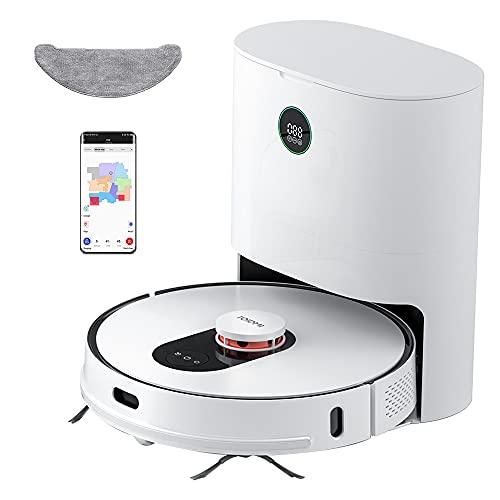 ROIDMI EVE Plus Saugroboter mit automatischer Absaugstation 2700Pa 210 Minuten Laufzeit Laser-Navigation Staubsauger mit Wischfunktion Kehrmaschine 3-stufigem Reinigungssystem Alexa Steuerung Weiß