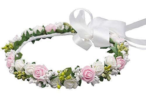 Mädchen Haarkranz Kopfschmuck Haarschmuck Blumenkranz Haarband Kommunion Hochzeit Blumenmädchen Konfirmation Fotoshooting Shooting Farbe Weiß