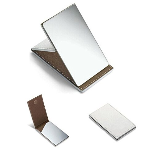yueton Shatterproof Stainless Steel Ultrathin Folding Travel Mirror Makeup Mirror with PU Leather Case Cover for Personal Use, Camping, Travelling, Emergency Signaling
