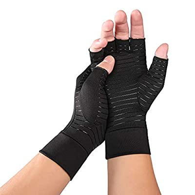 Cher9 1Pair Arthritis Copper Compression Hand Gloves? Fit Carpal Tunnel Hand Wrist Brace Support Highest Copper Content Alleviate Rheumatoid Pains Ease Muscle Tension Relieve