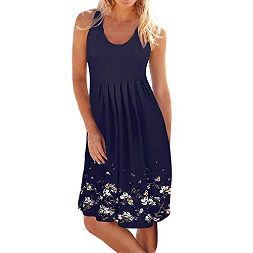 Preisvergleich Produktbild iHENGH Damen Sommer Rock Lässig Mode Kleider Bequem Frauen Röcke ärmellose Abend Party Strandkleid kurzes Kleid(Marine,  L)