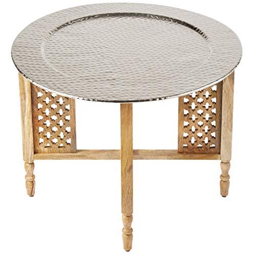 Marokkaanse ronde tafel salontafel Hania ø 60 cm rond | Oosterse woonkamertafel met inklapbaar vintage frame van hout | Het dienblad Deze klaptafel is gemaakt van metaal in zilver oosters 60 cm Durchmesser 46 cm hoch naturel | zilver