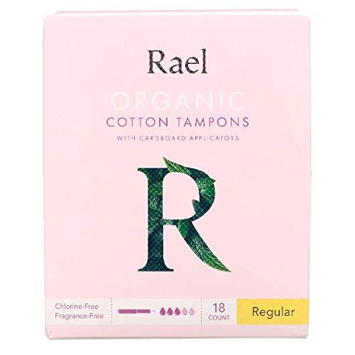 Rael Tampons aus Bio-Baumwolle mit Karton-Applikatoren, regulär, 18 Stück