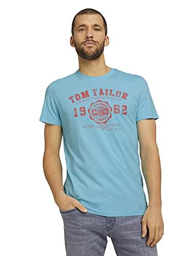 TOM TAILOR Herren Logodruck T-Shirt, 26007-Teal Radiance, S