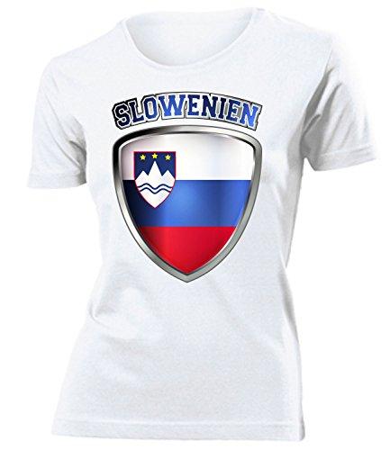 Slowenien Slovenia Slovenija Fanshirt Fussball Fußball Trikot Look Jersey Damen Frauen t Shirt Tshirt t-Shirt Fan Fanartikel Outfit Bekleidung Oberteil Hemd Artikel