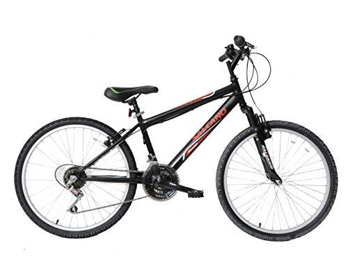Salcano Shocker 24' Wheel Boys Kids Front Suspension Mountain Bike 21 Speed Black/Red Age 8+