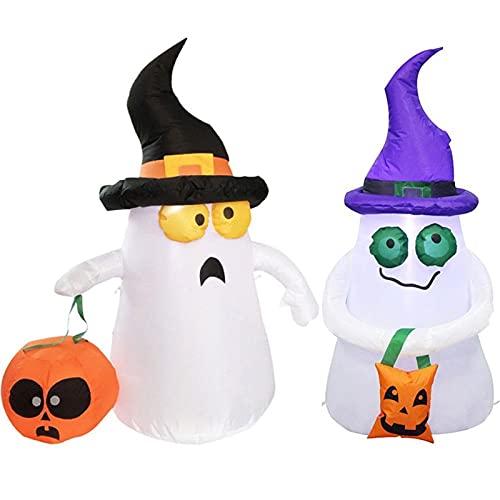 Alysays Useful Calabaza Fantasma Inflable de Halloween DIRIGIÓ Decoración de jardín de jardín al Aire Libre Ligero Fantasma Lleva una Linterna Fantasma Lleva una Bolsa de Compras Convenient