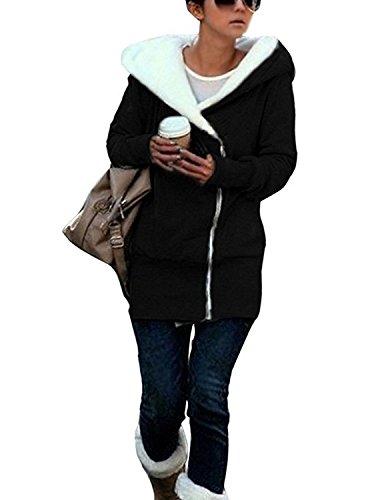 Minetom Damen Warm Verdicken Winterjacke Mantel Mit Plüsch Kapuze Winddicht Tasche Tunnelzug Kurze Parka Gezeichnet Jacke Outerwear Schwarz DE 40