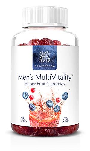 Men's Multivit Super Fruit Gummies | Healthspan | Multivitamin | with Vitamin C & Vitamin D3 | Essential Micronutrients | Selenium | Zinc | Boosts Immunity | No Added Sugar (90 Gummies)