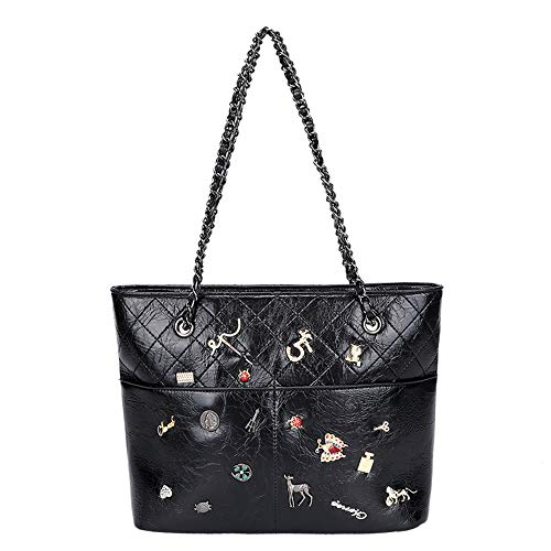 Women messenger bag ladies shoulder bag fashion designer chain bag large capacity tote bag (black)