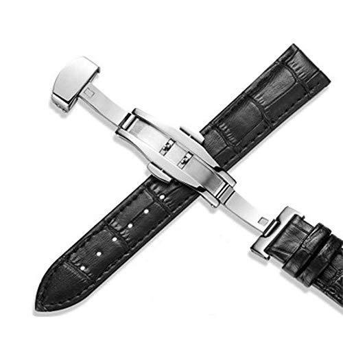 Correas de cuero Correa de reloj 18 mm 20 mm 22 mm Hombres Mujeres Accesorios de reloj Negro Marrón Hebilla de mariposa Bandas de reloj -M-Black_18mm