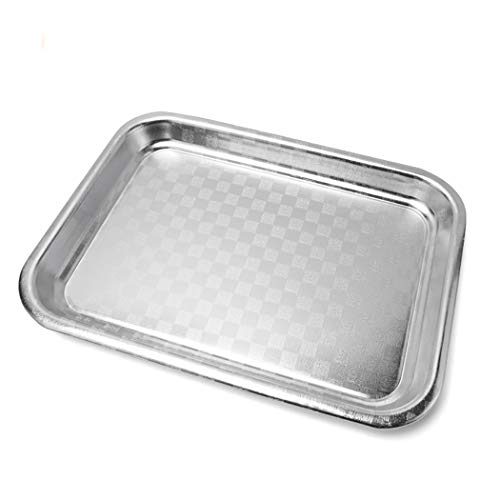Silver medium aluminum alloy rectangular stamping sample non-slip non-stick cake pan baking pan (Size: 15.9 inches lengthy x 11.3 inches vast x 1.1 inches excessive)