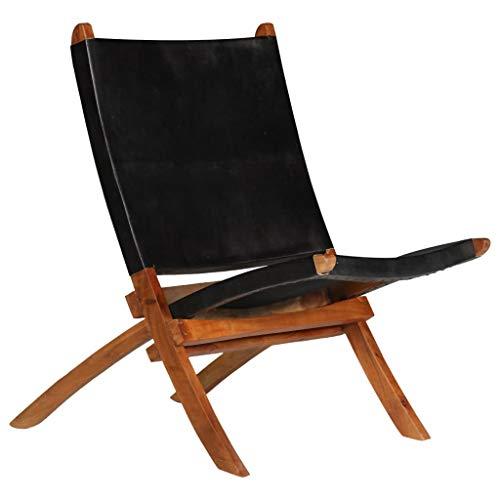 Festnight- Relaxstuhl | Echtleder Klappstuhl | Echt Leder Faltbar Stuhl | Vintage Stühle mit Rückenlehne | Braun/Schwarz Holz Rahmen 59×72×79 cm